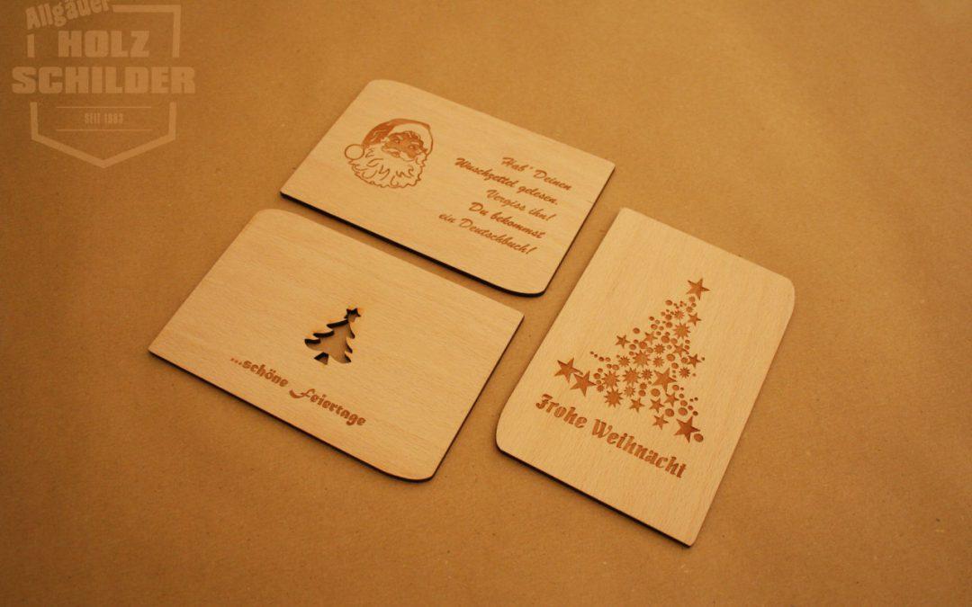 Postkarten aus echtem Holz oder Holzfurnier