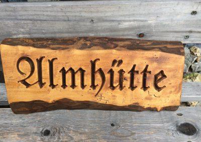 Holzschild Almhütte rustikal
