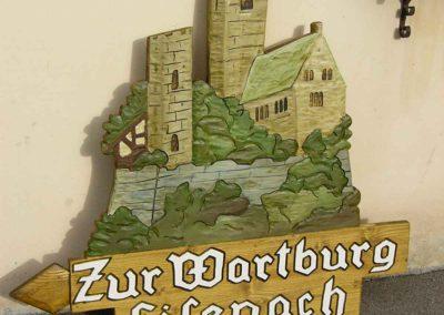 Wartburg Eisenach Langensalza Holzschild geschnitzt