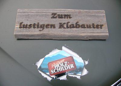 Brandmalerei auf Altholz Holzschild