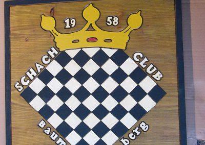 Schachclub Vereinslogo Holzschild Schachbrett