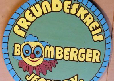 Boomberger Jecke Vereinslogo Holzschild