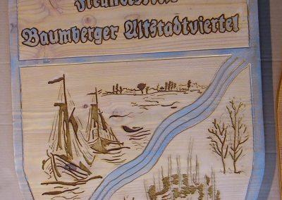 Freundeskreis Altstadtviertel Baumberg Logo Wappen in Holz