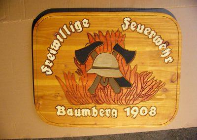 FFW Freiwillige Feuerwehr Baumberg Holzschild für Gewerbebaum