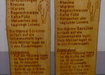 Bio-Wärme-Säckchen, Verkaufsschild aus Holz