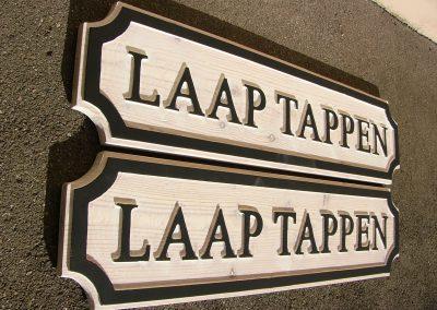 Laap Tappen, Bootschild Schiffsbezeichnung, Holzschild