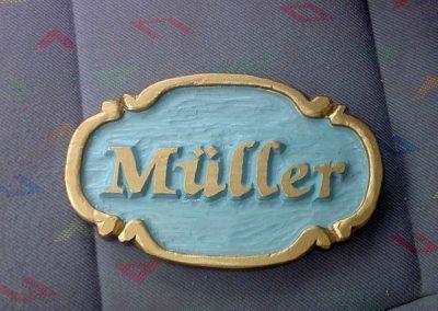 Müller Türschild Namenschild Hausschild Holzschild