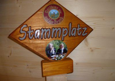 Stammplatz Stammtischschild Raute aus Holz