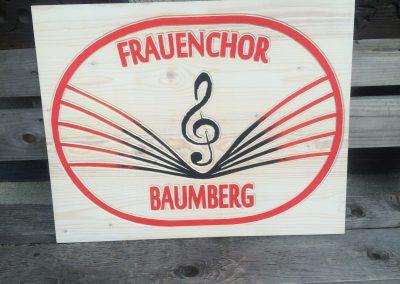 Frauenchor Baumberg Logoschild aus Holz