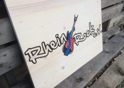 Rhein Rock Musikverein Logoschild aus Holz