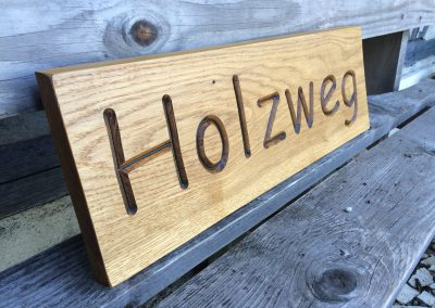Holzweg Holzschild massiv Eiche