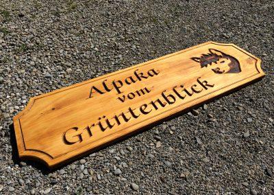 Alpaka vom Grüntenblick Holzschild mit Logo