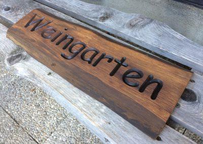 Weingarten rustikales Holzschild