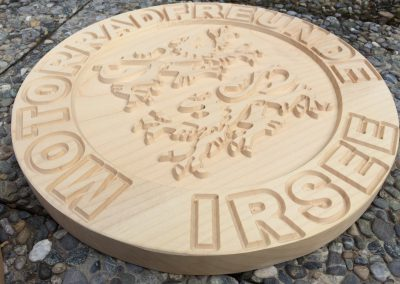 Motorradfreunde Irsee, Vereinslogo aus Holz