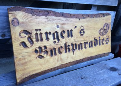 Jürgens Backparadies Holzwerbeschild rustikal