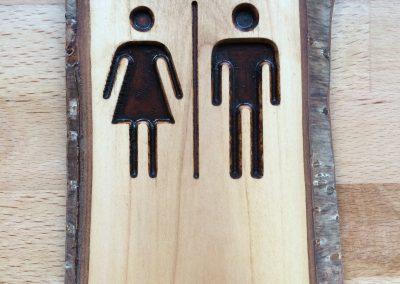 Toilette Damen Herren, Piktogramm aus Holz rustikal
