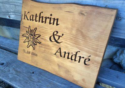 Kathrin & Andre Hochzeitsschild aus Holz