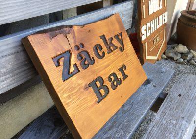 Zäcky Bar, Kellerbar, Partykeller, Holzschild