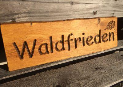 Waldfrieden Holzschild