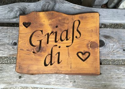Griaß di - allgäuer Begrüssung - Holzschild