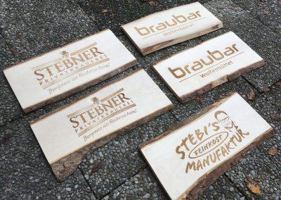 Brauerei Stebner Holzschild graviert