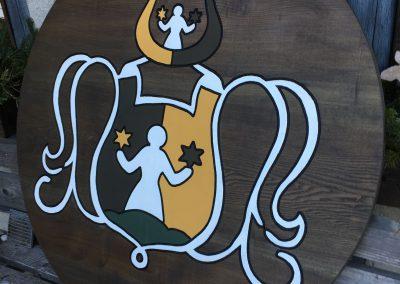 Firmenlogl gefräst farbig Holzschild