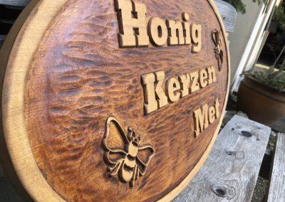 Imkerschild Honig Biene Kerze Met, Holzschild