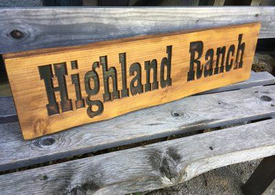 Highland Ranch, Holzschild rustikal