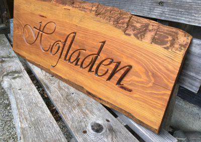 Hofladen Holzschild gefräst rustikal ungesäumt