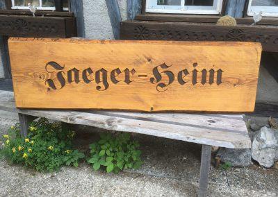 Jägerheim Jagdheim Jagdhütte Holzschild