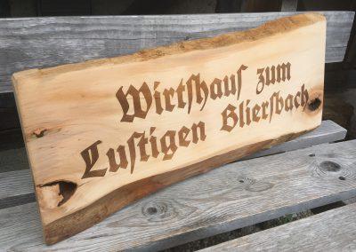 Wirtshaus Holzschild Lasergravur