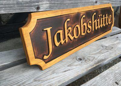 Jakobshütte, Hüttenschild, Hausschild, Türschild