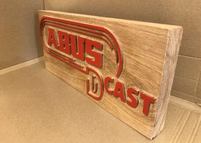 Abus D Cast CI-Firmenlogo aus Holz gefräst