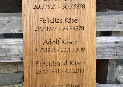Grabtafel Gedenktafel für Grabkreuz aus Holz
