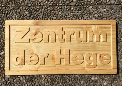 Zentrum der Hege, Holzschilder