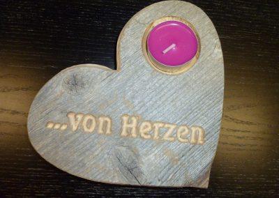 Altholz Herz-Kerze mit Gravur