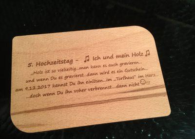 Holzpostkarten Hochzeitstag Wunschtext