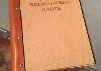 Speisekarte, Holzbuch