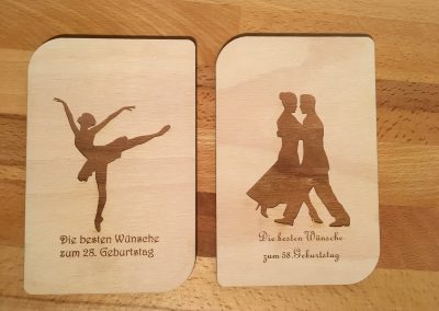 Holzpostkarten Wunschgravur Geburtstag