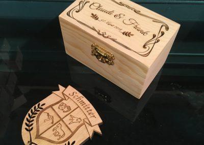 Holzbox mit Lasergravur