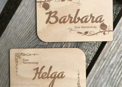 Holzpostkarte Namenstag Wunschtext