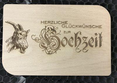 """Holzpostkarte """"Hochzeit"""""""