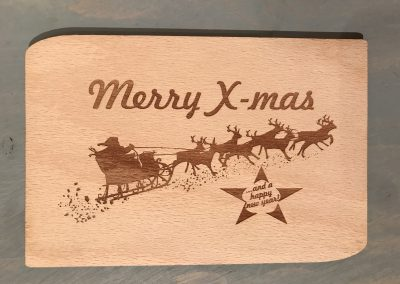 "Holzpostkarte ""Merry x-mas"""