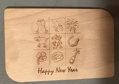 "Holzpostkarte ""Happy New Year"""