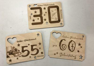 Glückwunschkarten aus Holz